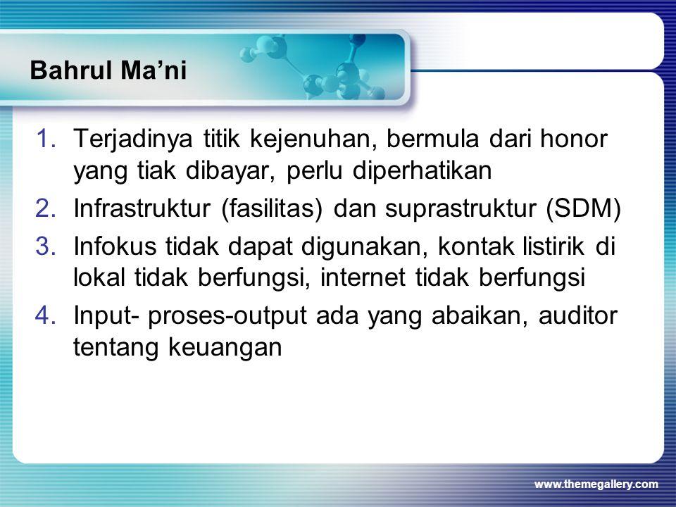 Infrastruktur (fasilitas) dan suprastruktur (SDM)