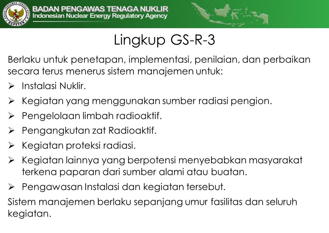 Lingkup GS-R-3 Berlaku untuk penetapan, implementasi, penilaian, dan perbaikan secara terus menerus sistem manajemen untuk: