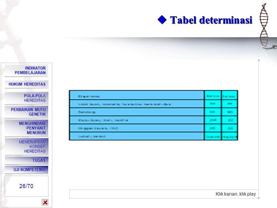  Tabel determinasi 26/70 Klik kanan, klik play INDIKATOR PEMBELAJARAN