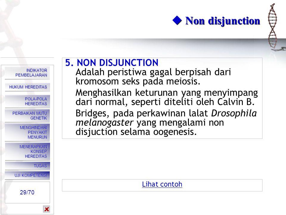  Non disjunction 5. NON DISJUNCTION Adalah peristiwa gagal berpisah dari kromosom seks pada meiosis.