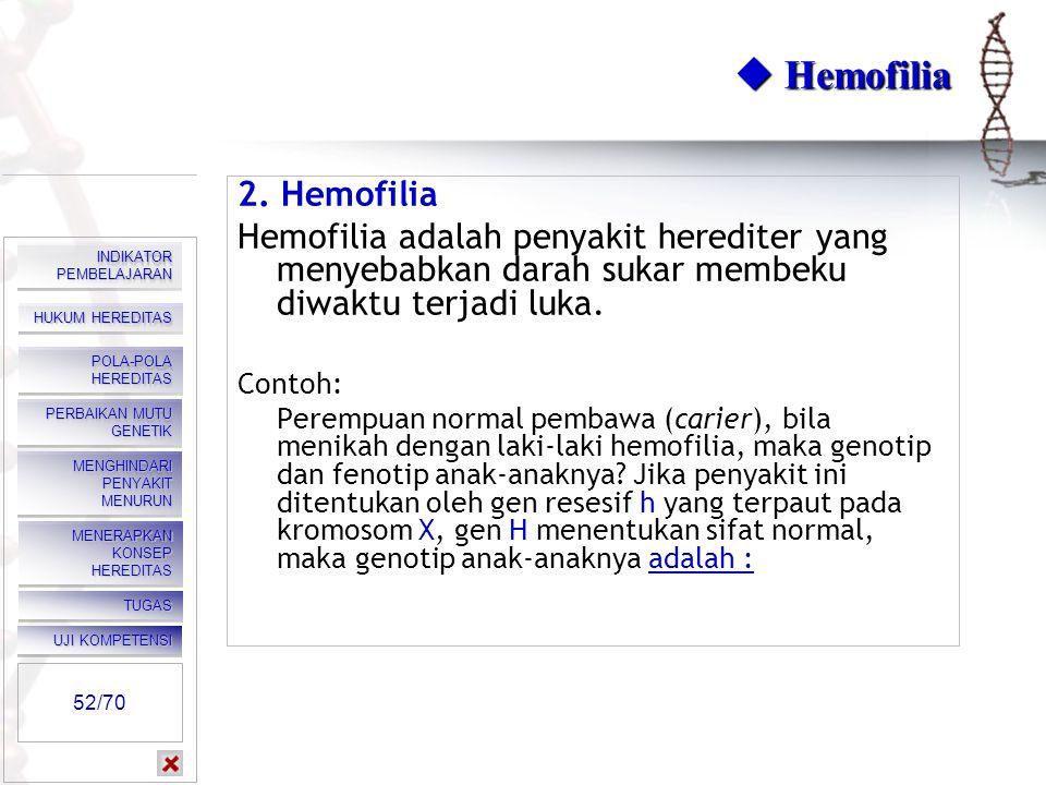  Hemofilia 2. Hemofilia. Hemofilia adalah penyakit herediter yang menyebabkan darah sukar membeku diwaktu terjadi luka.