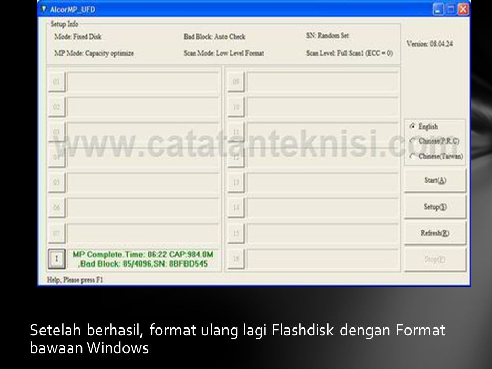 Setelah berhasil, format ulang lagi Flashdisk dengan Format bawaan Windows