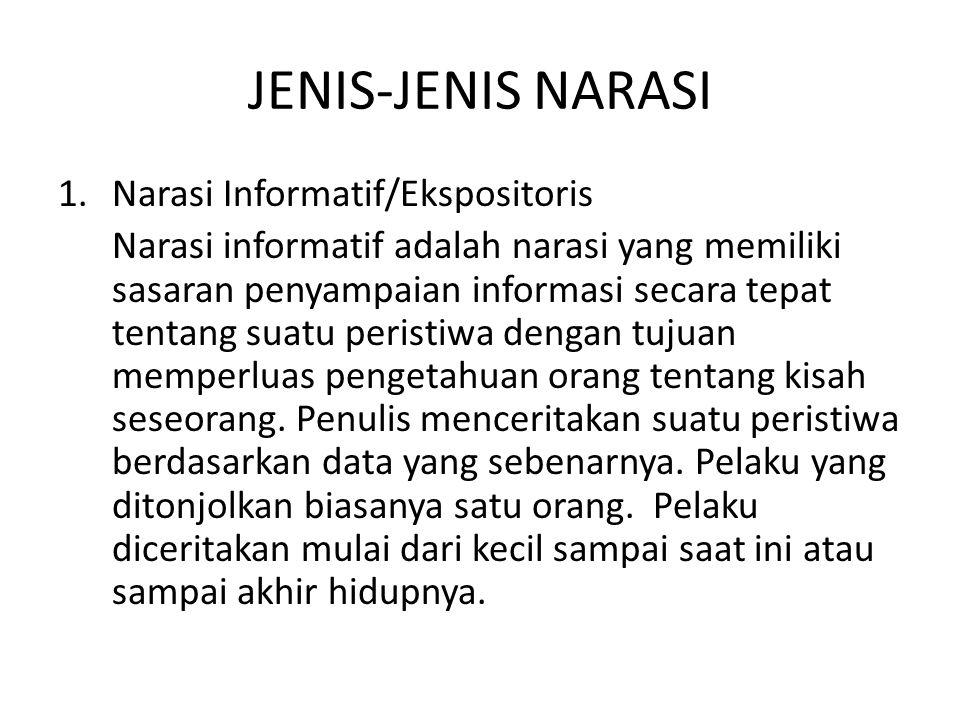 JENIS-JENIS NARASI Narasi Informatif/Ekspositoris