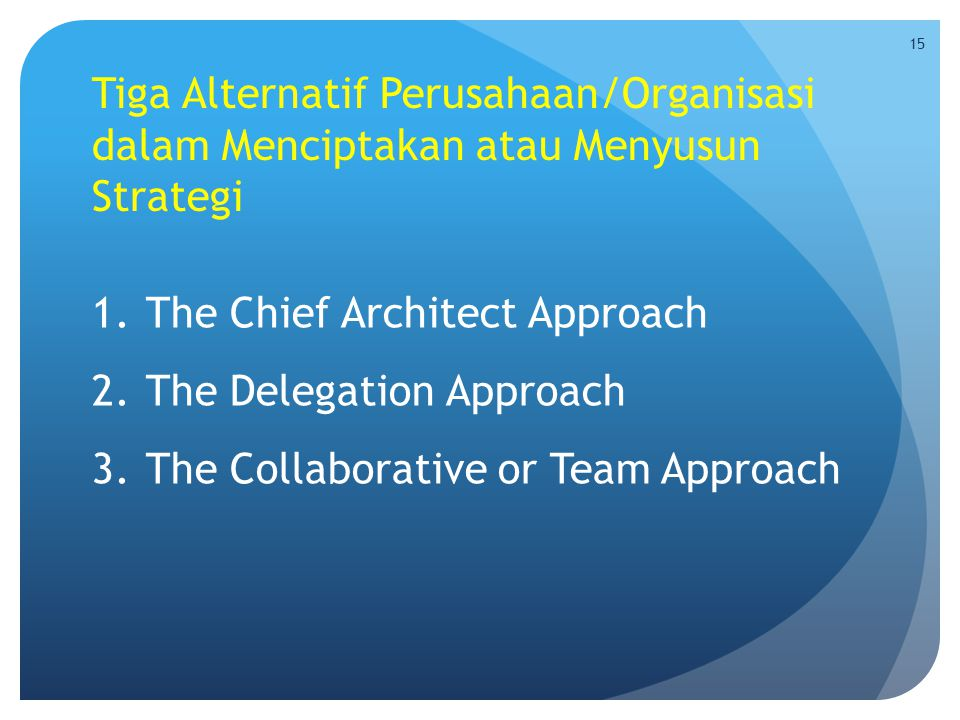 Tiga Alternatif Perusahaan/Organisasi dalam Menciptakan atau Menyusun Strategi