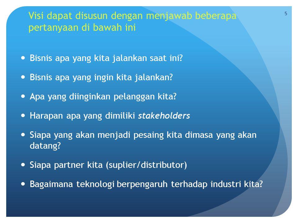 Visi dapat disusun dengan menjawab beberapa pertanyaan di bawah ini