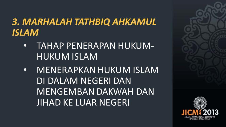 3. MARHALAH TATHBIQ AHKAMUL ISLAM