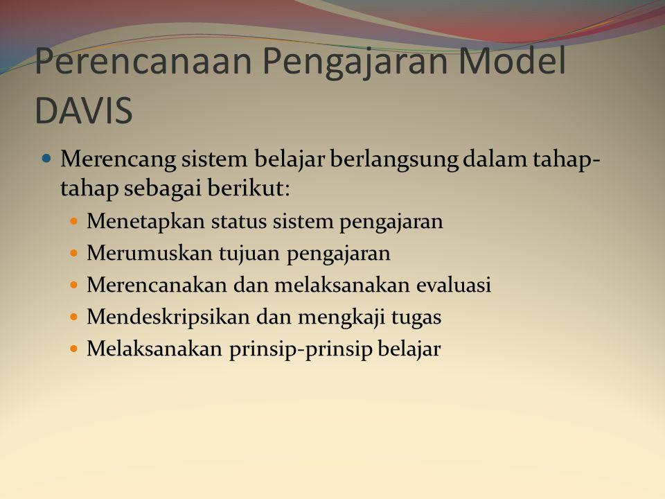 Perencanaan Pengajaran Model DAVIS