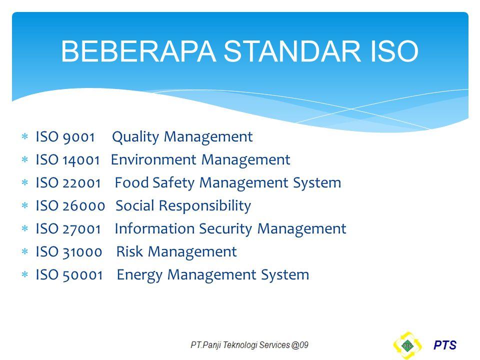 BEBERAPA STANDAR ISO ISO 9001 Quality Management