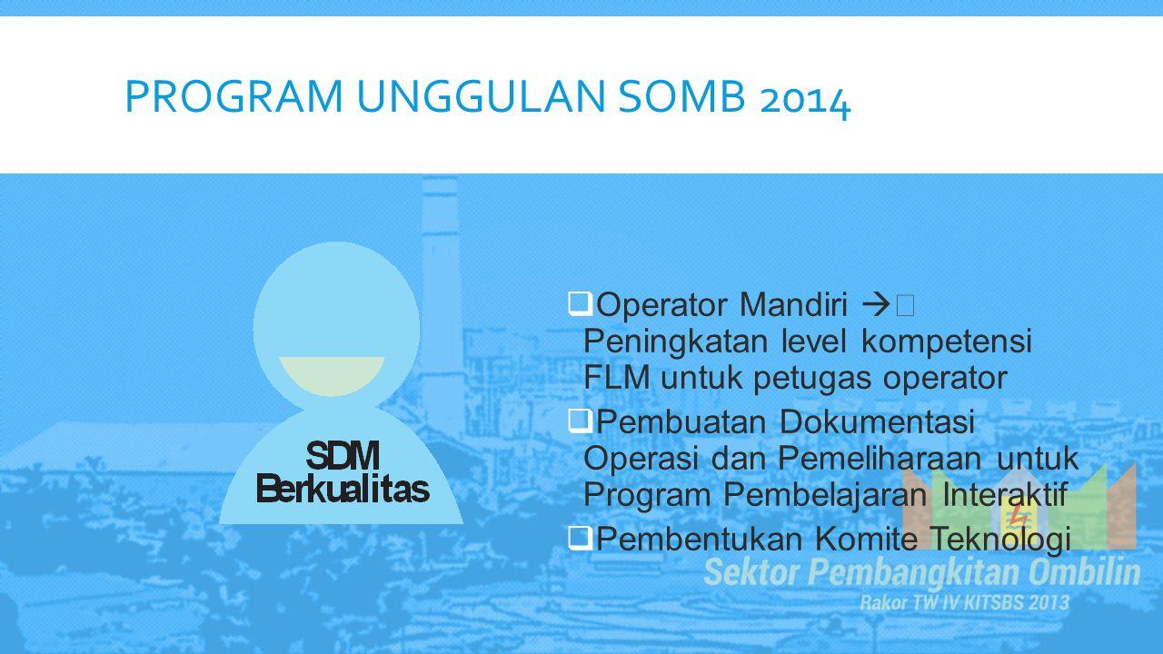 Program Unggulan somb 2014 Operator Mandiri  Peningkatan level kompetensi FLM untuk petugas operator.