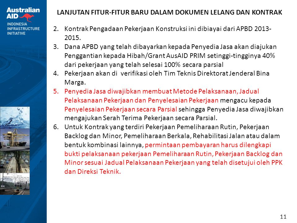 LANJUTAN FITUR-FITUR BARU DALAM DOKUMEN LELANG DAN KONTRAK