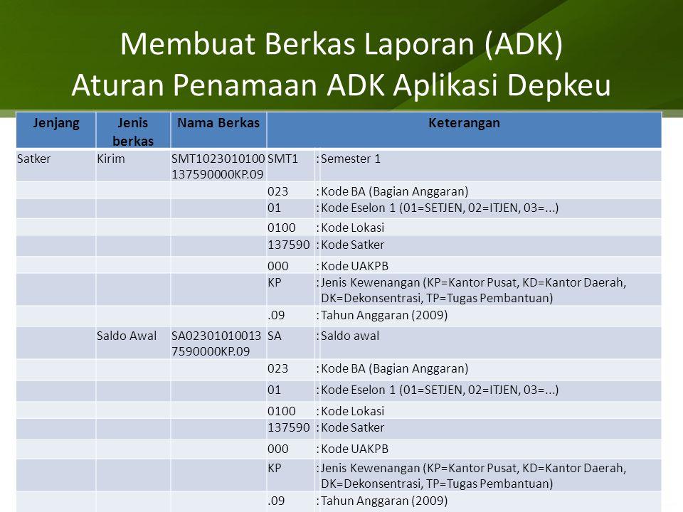 Membuat Berkas Laporan (ADK) Aturan Penamaan ADK Aplikasi Depkeu