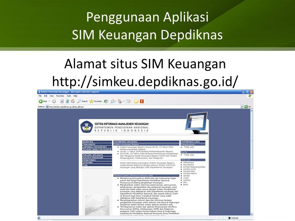 Penggunaan Aplikasi SIM Keuangan Depdiknas