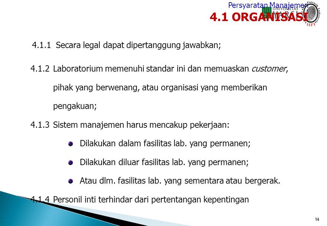 4.1 ORGANISASI 4.1.1 Secara legal dapat dipertanggung jawabkan;
