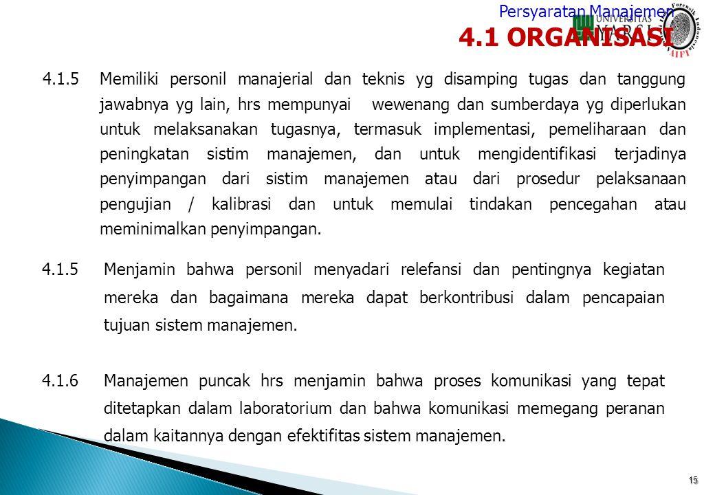 4.1 ORGANISASI Persyaratan Manajemen