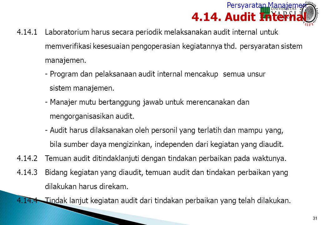 4.14. Audit Internal Persyaratan Manajemen