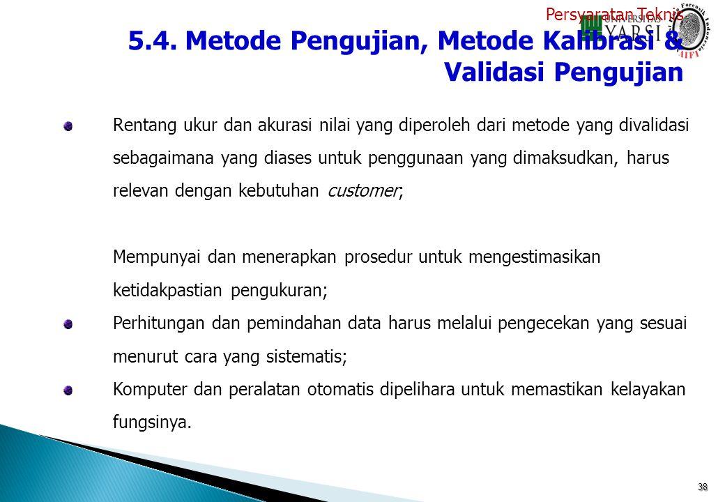 5.4. Metode Pengujian, Metode Kalibrasi & Validasi Pengujian
