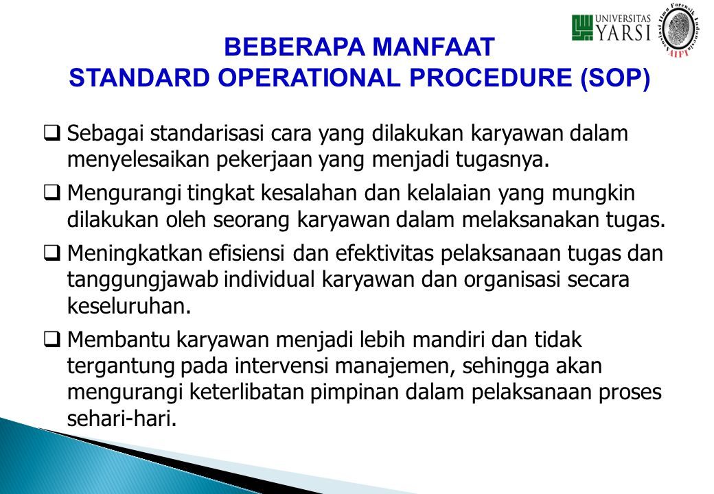 STANDARD OPERATIONAL PROCEDURE (SOP)