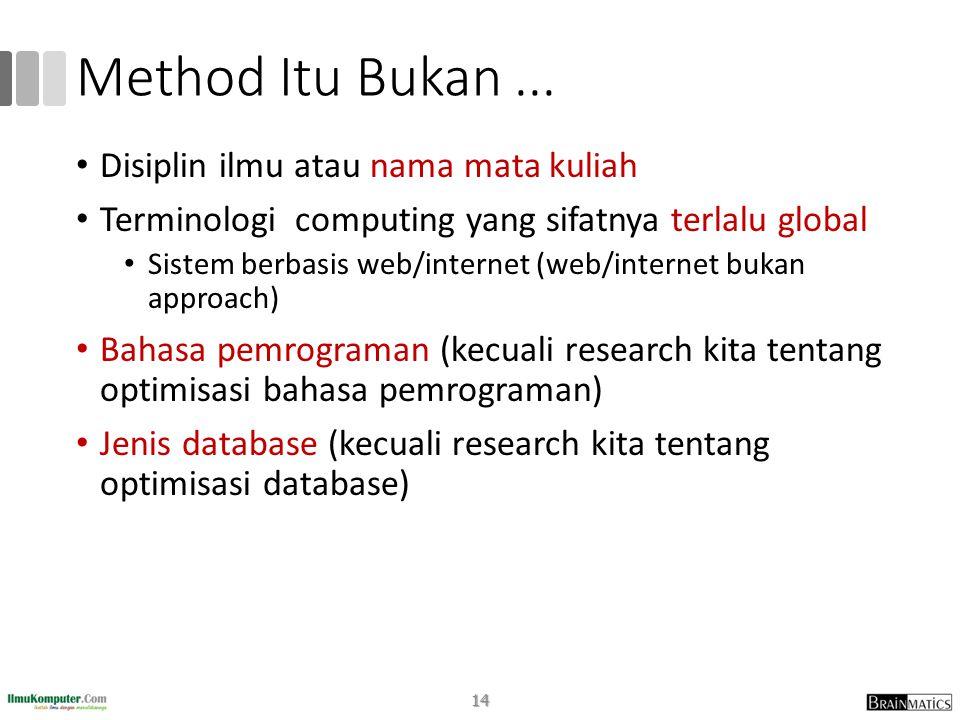Method Itu Bukan ... Disiplin ilmu atau nama mata kuliah