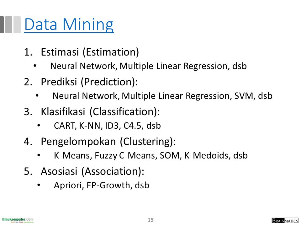 Data Mining Estimasi (Estimation) Prediksi (Prediction):