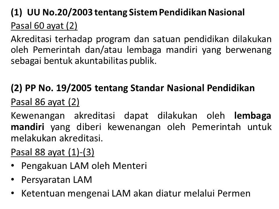 (2) PP No. 19/2005 tentang Standar Nasional Pendidikan
