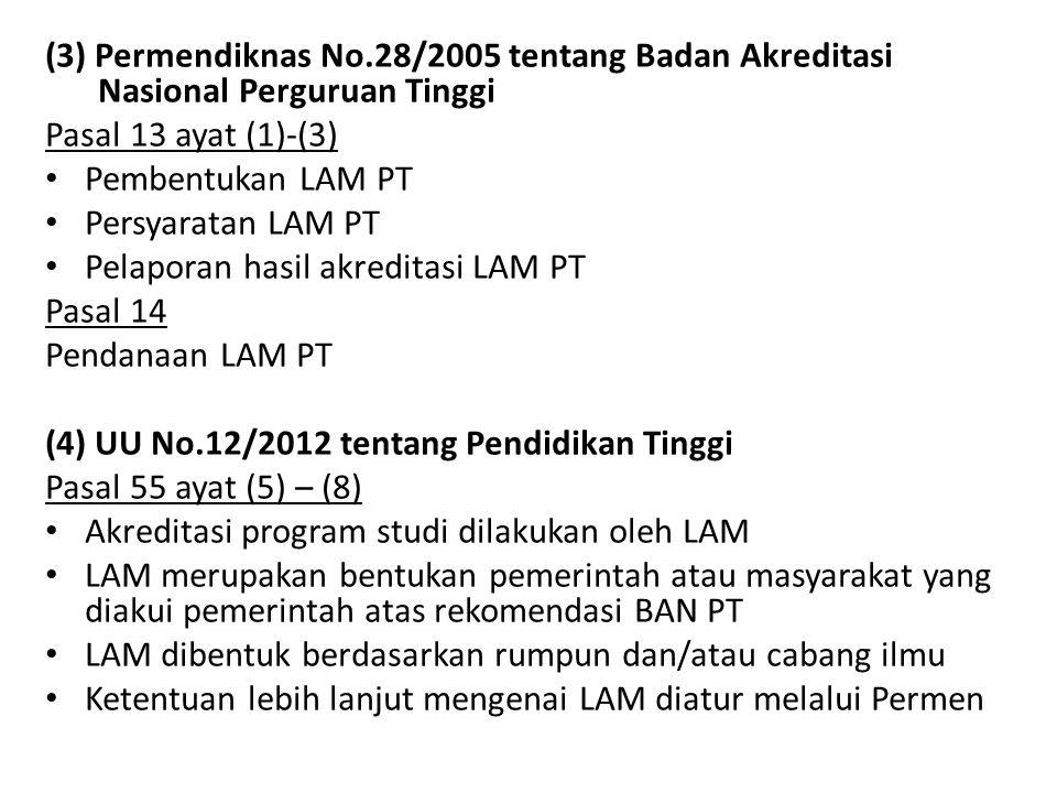 (3) Permendiknas No.28/2005 tentang Badan Akreditasi Nasional Perguruan Tinggi