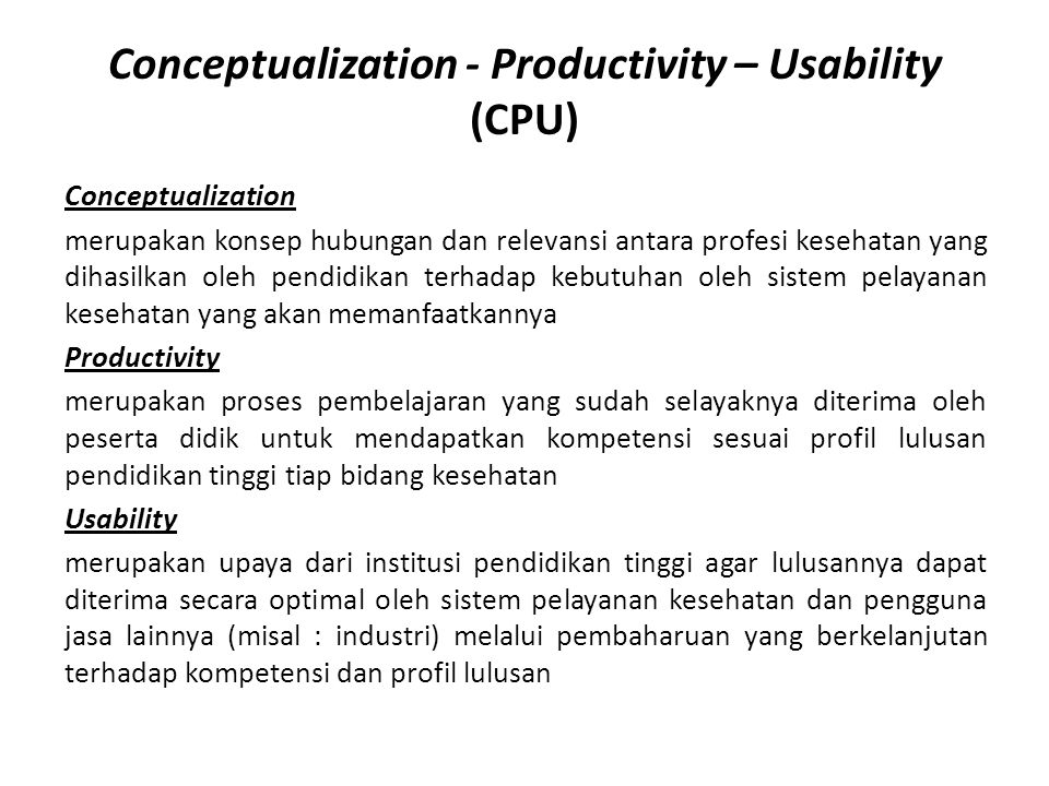 Conceptualization - Productivity – Usability (CPU)
