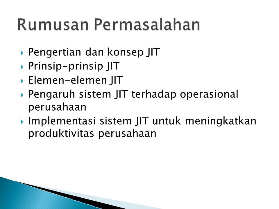 Rumusan Permasalahan Pengertian dan konsep JIT Prinsip-prinsip JIT