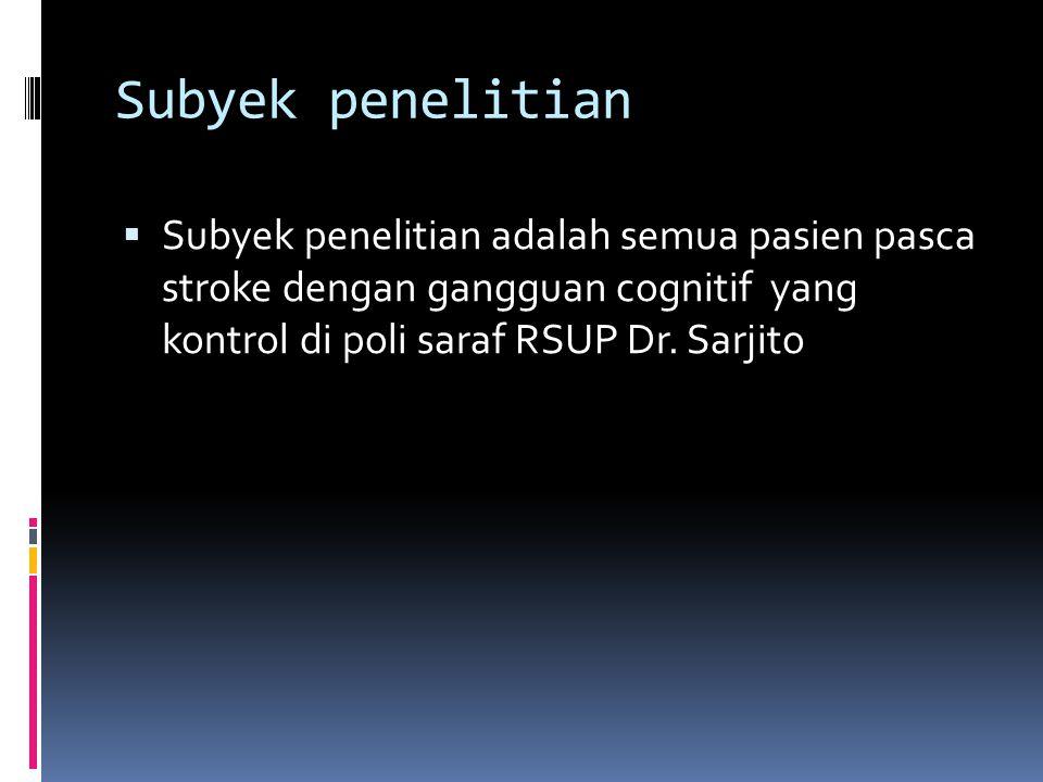 Subyek penelitian Subyek penelitian adalah semua pasien pasca stroke dengan gangguan cognitif yang kontrol di poli saraf RSUP Dr.