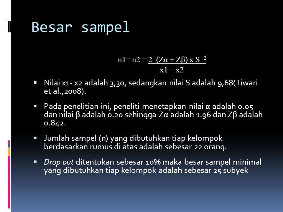 Besar sampel n1= n2 = 2 (Zα + Zβ) x S 2. x1 – x2. Nilai x1- x2 adalah 3,30, sedangkan nilai S adalah 9,68(Tiwari et al.,2008).