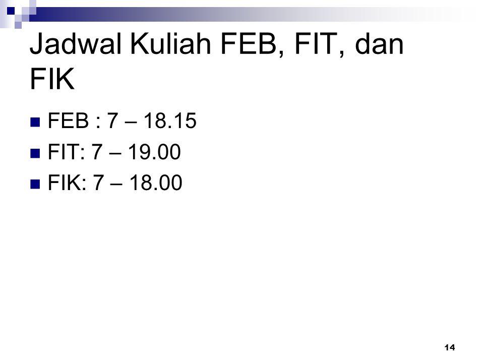 Kalender Akademik 3 Feb – 22 Mei 2014 : Kuliah (14 minggu)