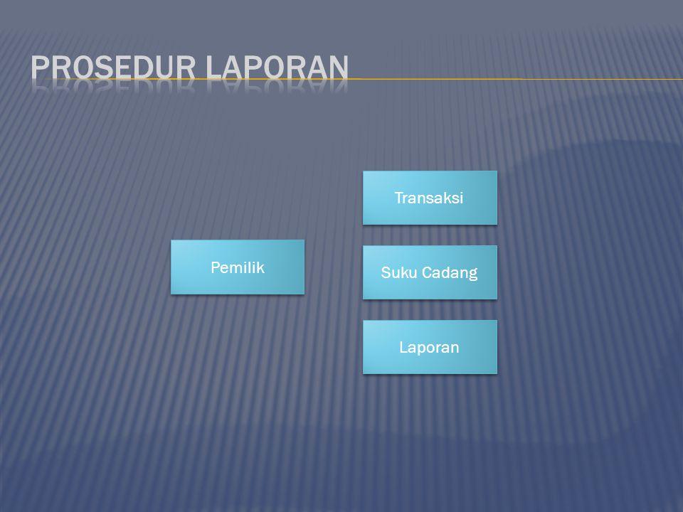 Prosedur laporan Transaksi Pemilik Suku Cadang Laporan