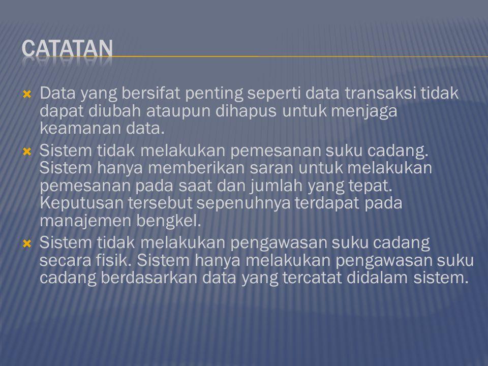 Catatan Data yang bersifat penting seperti data transaksi tidak dapat diubah ataupun dihapus untuk menjaga keamanan data.