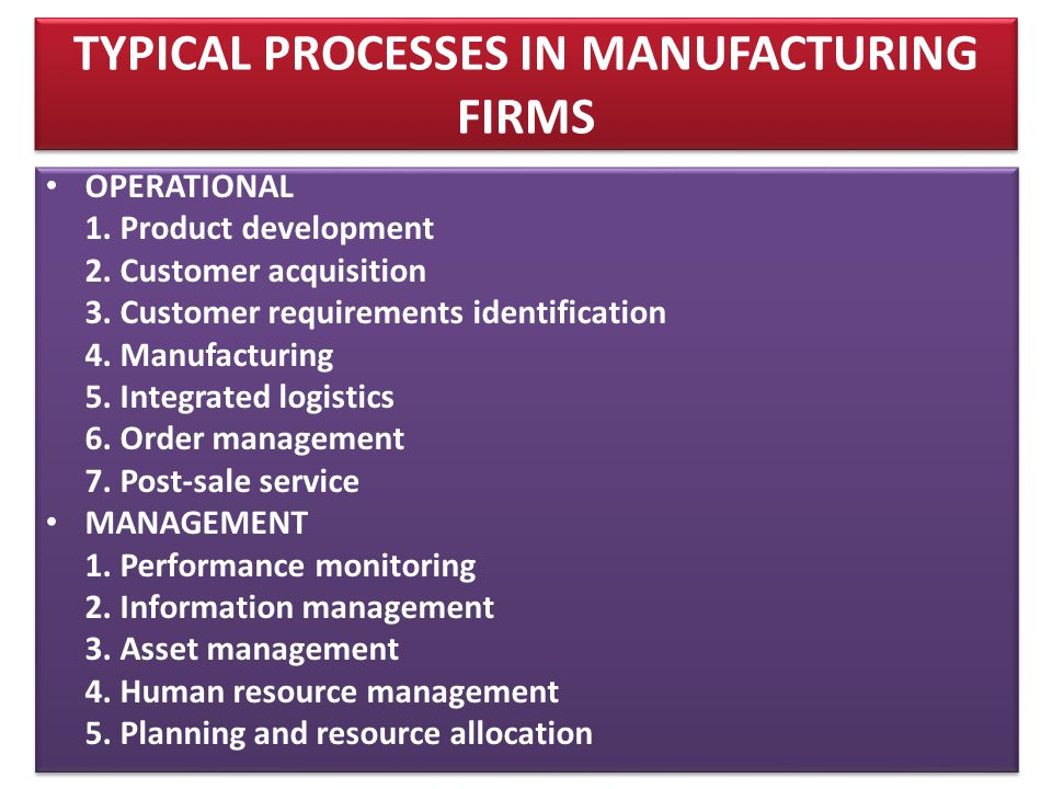 TYPICAL PROCESSES IN MANUFACTURING FIRMS