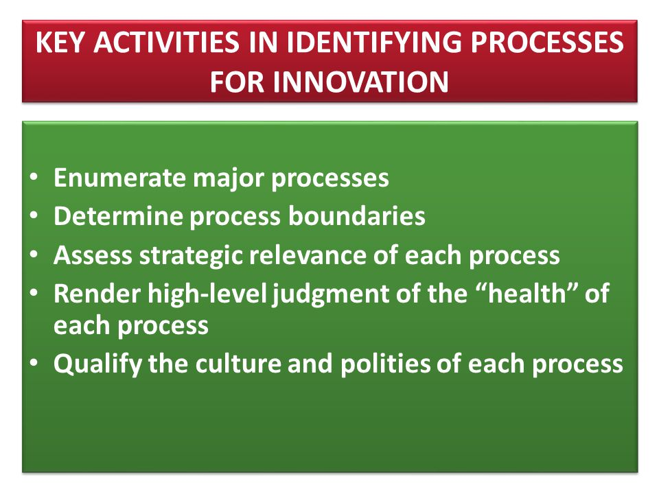 KEY ACTIVITIES IN IDENTIFYING PROCESSES FOR INNOVATION
