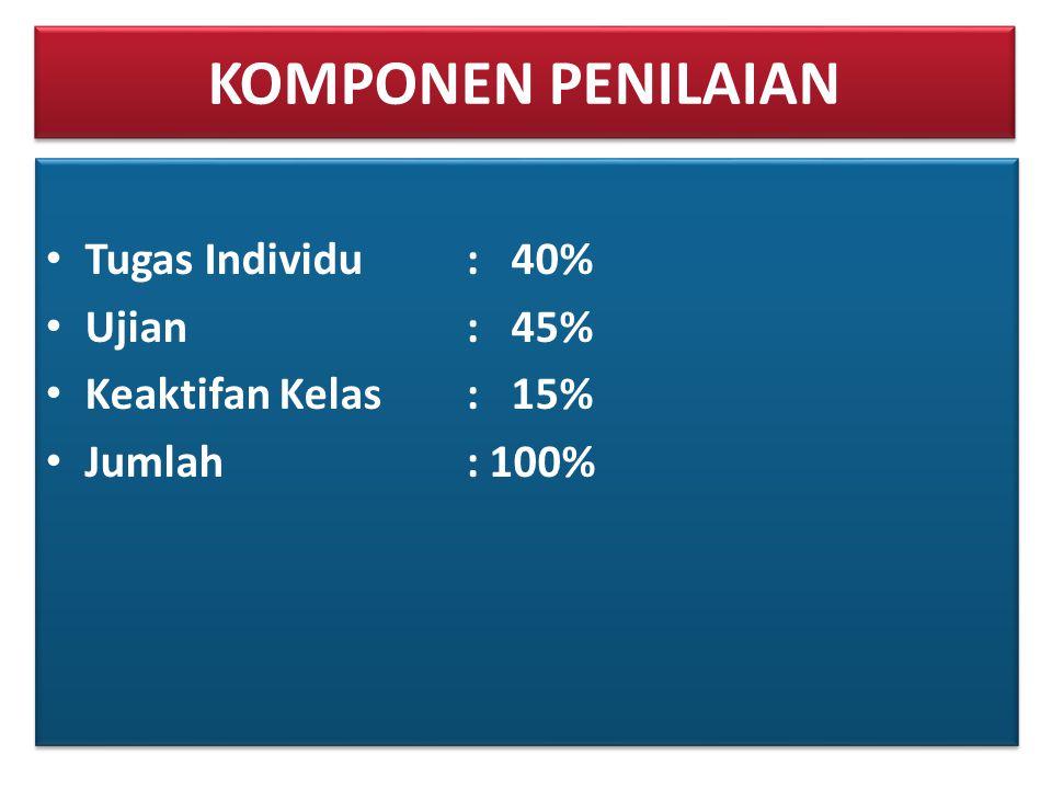 KOMPONEN PENILAIAN Tugas Individu : 40% Ujian : 45%