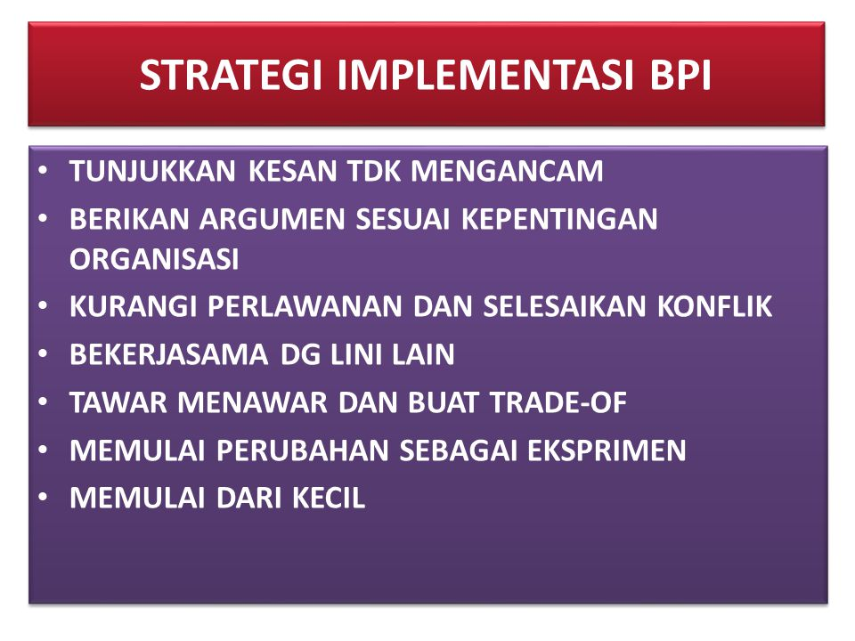 STRATEGI IMPLEMENTASI BPI
