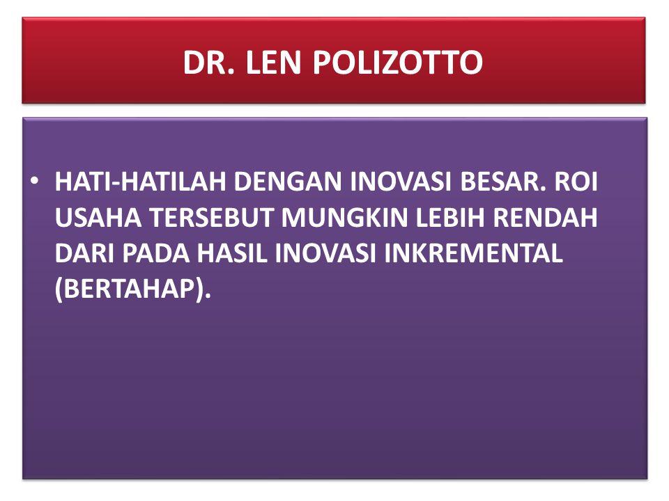 DR. LEN POLIZOTTO HATI-HATILAH DENGAN INOVASI BESAR.
