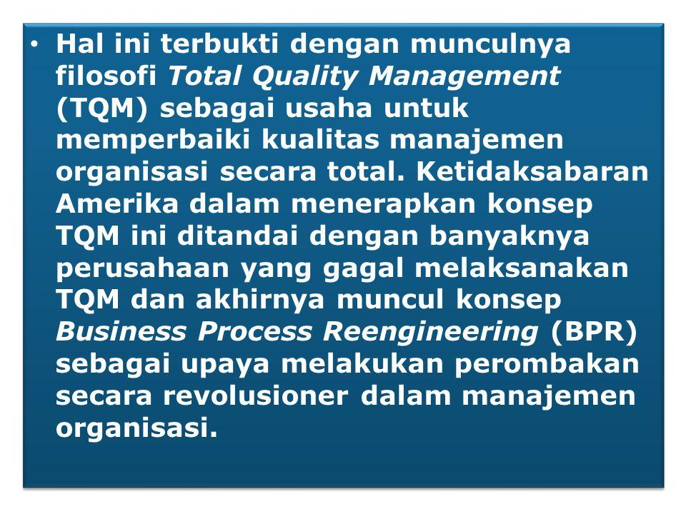Hal ini terbukti dengan munculnya filosofi Total Quality Management (TQM) sebagai usaha untuk memperbaiki kualitas manajemen organisasi secara total.