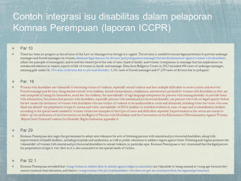 Contoh integrasi isu disabilitas dalam pelaporan Komnas Perempuan (laporan ICCPR)