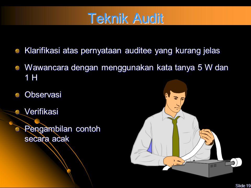 Teknik Audit Klarifikasi atas pernyataan auditee yang kurang jelas