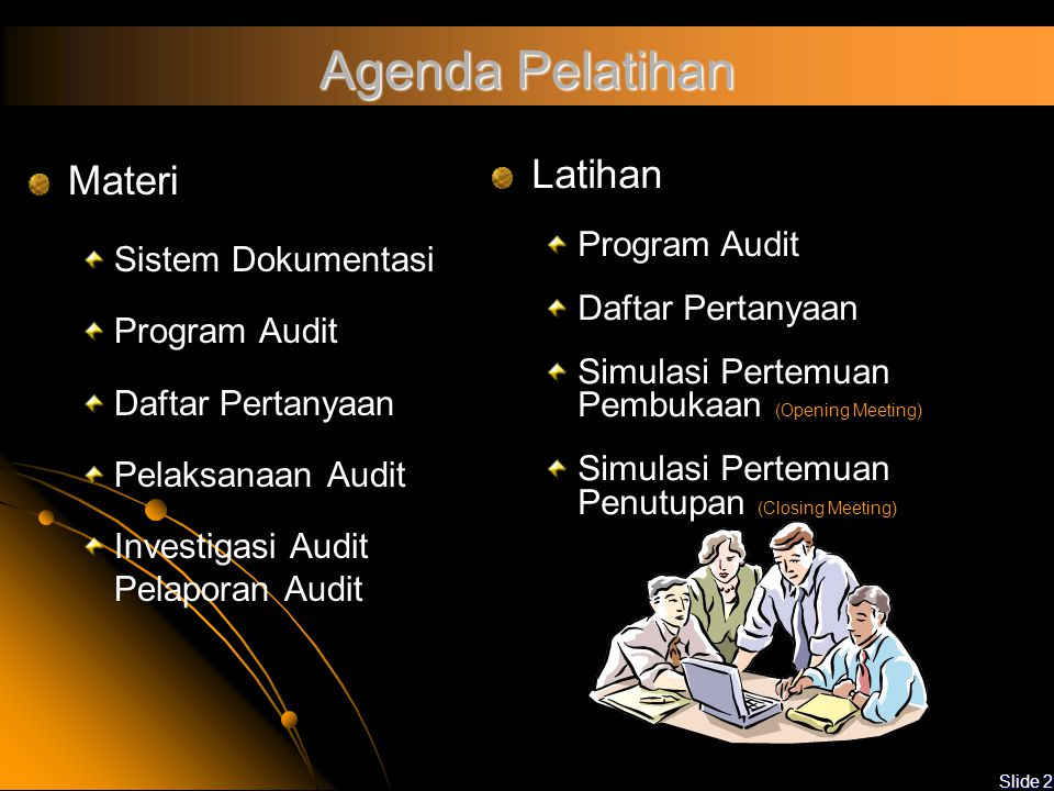 Agenda Pelatihan Materi Latihan Sistem Dokumentasi Program Audit
