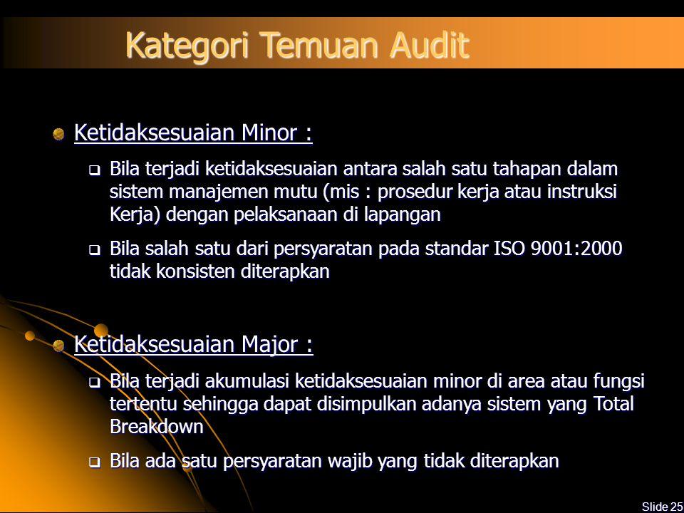 Kategori Temuan Audit Ketidaksesuaian Minor : Ketidaksesuaian Major :