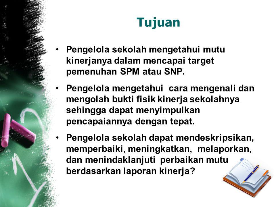 Tujuan Pengelola sekolah mengetahui mutu kinerjanya dalam mencapai target pemenuhan SPM atau SNP.