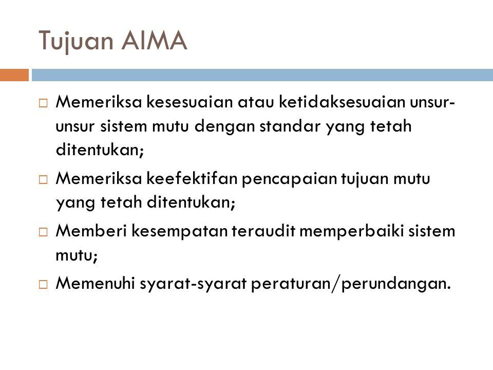 Tujuan AIMA Memeriksa kesesuaian atau ketidaksesuaian unsur- unsur sistem mutu dengan standar yang tetah ditentukan;