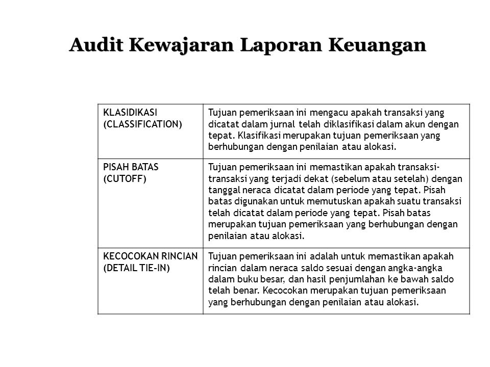 Audit Kewajaran Laporan Keuangan