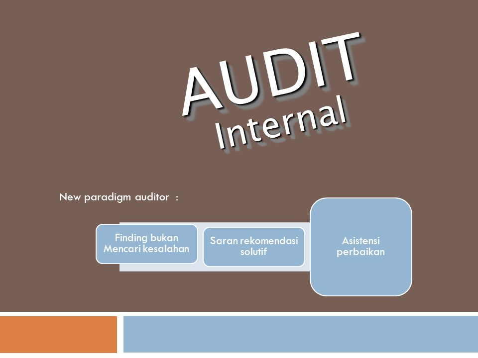 AUDIT Internal New paradigm auditor : Asistensi perbaikan