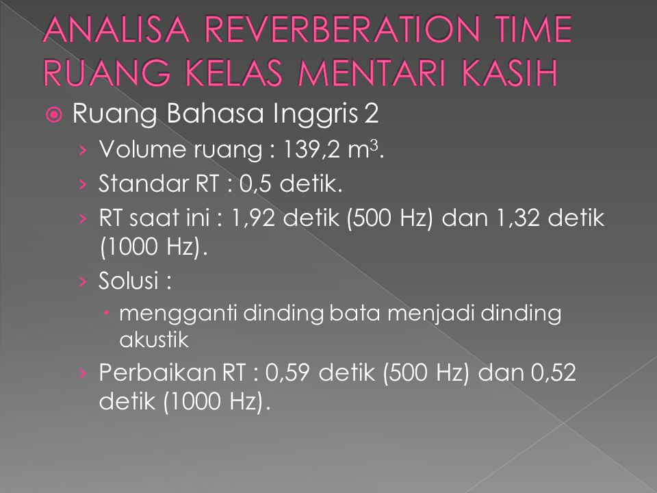 ANALISA REVERBERATION TIME RUANG KELAS MENTARI KASIH