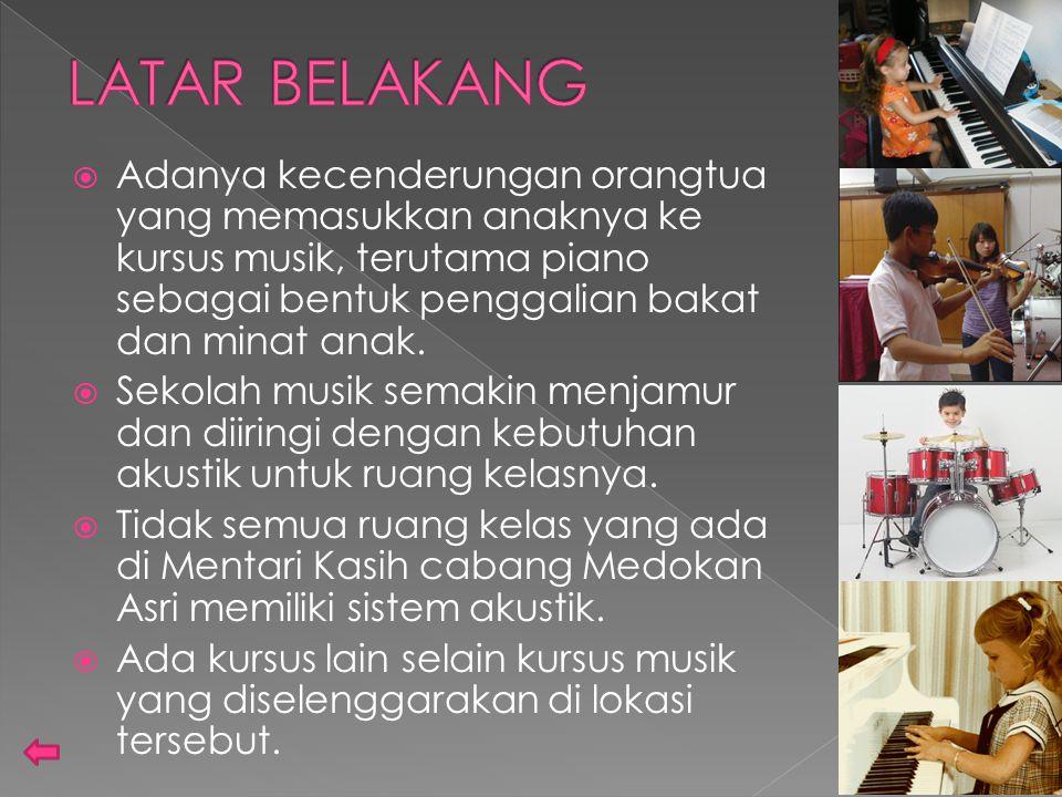 LATAR BELAKANG Adanya kecenderungan orangtua yang memasukkan anaknya ke kursus musik, terutama piano sebagai bentuk penggalian bakat dan minat anak.