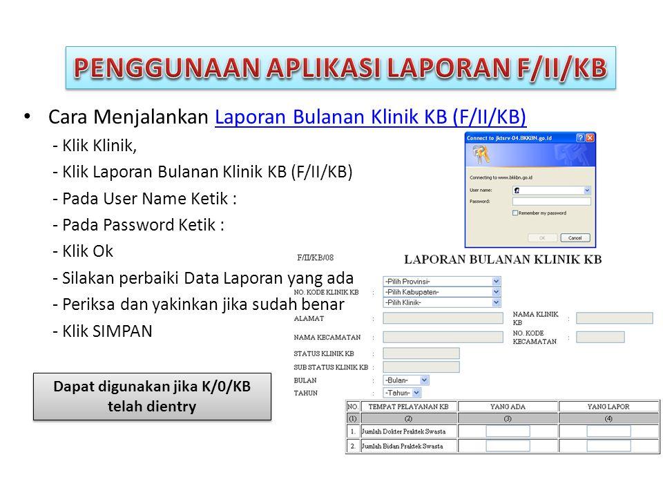 PENGGUNAAN APLIKASI LAPORAN F/II/KB
