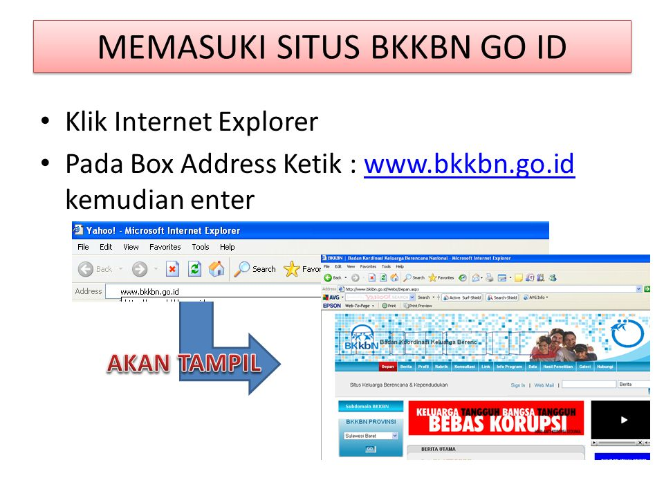 MEMASUKI SITUS BKKBN GO ID